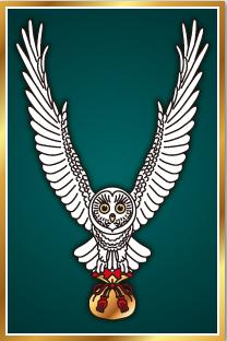 縁起のよい白いフクロウが描かれた開運護符