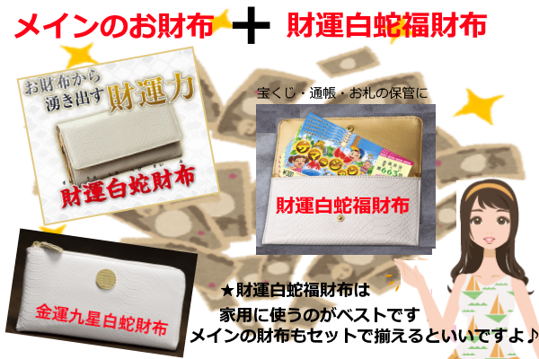 財運白蛇福財布のセットです