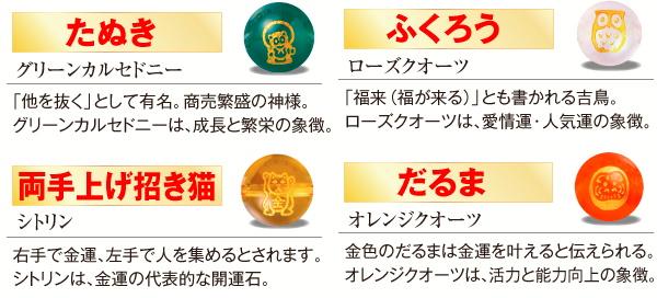 四柱(たぬきなど)金運大明神のパワーストーン